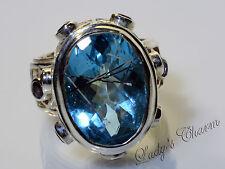 Sajen Sterling Silver Shimmering Strips Blue Topaz Amethyst Ring Size 8.5
