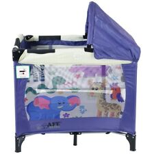 iSafe Mini Travel Cot With Bassinet and Canopy - Safari 81 X 56 X 84 Cm
