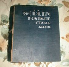 MODERN POSTAGE STAMP ALBUM - VINTAGE - 1952 - CONTAINS STAMPS - POOR CONDITION
