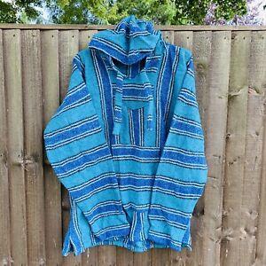 Mexican Baja Hoodie Hippy Festival Jumper Blue Striped - XL XXL
