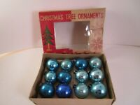 Vintage Mixed Lot of 12 Miniature Mercury Glass Christmas Ornaments Blue Japan