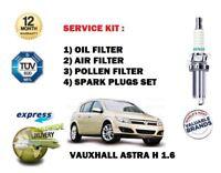 Für Opel Astra H 1.6 2004-2009 Neu Öl Luft Pollen 3 Filter + Zündkerzen Satz