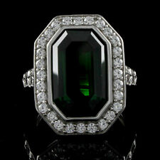 Emerald Halo Engagement Ring 14k White Gold Over 925 Sterling Silver