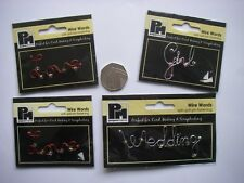 JobLot 4 Papermania BEADED WIRE WORD DECORATIVE BRADS Love WEDDING Girl NEW Free