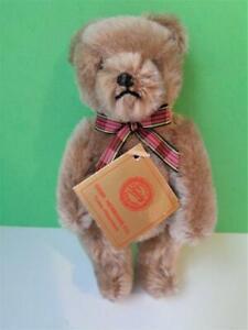 "Vintage 7"" German Hermann Miniature Teddy Bear #62/17/2 Tan Brown Mohair w/Tag"