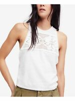 FREE PEOPLE Womens Ivory Crocheted Tank Wear To Work Top XS