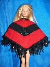 poncho tipi franges  barbie tricot main unique handmade  poncho for barbie doll
