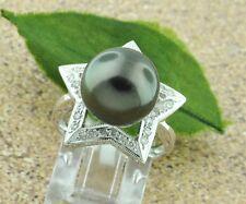18k Solid White Gold Natural Tahitian South Sea Pearl & Diamond Ring 12mm star