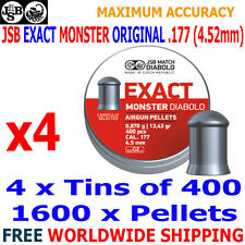 JSB EXACT MONSTER ORIGINAL .177 4.52mm Airgun Pellets 4(tins)x400pcs