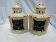 Antique Nautical Ship Lanterns Triplex 1910 Metal Red Blue Maritime Glass As Is