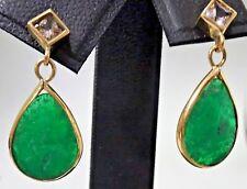 Pendientes de oro con esmeraldas y zafiro blanco