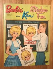 Barbie And Ken Sticker Fun Book by Whitman 1963 Vintage Stickers Applied 1688-59