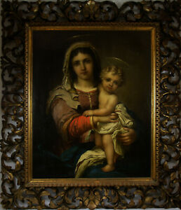 Hans Zatzka (Austrian 1859-1945) Madonna & Child Antique Original Oil Painting