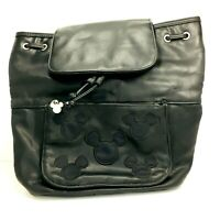 Vintage Mickey Mouse Soft Leather Backpack Walt Disney World Bag - Black