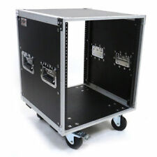 """12 Space ATA-style Amp or Effects Studio Rack Case with 4"""" Caster Wheels"""