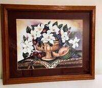 """Magnolia Grandeur"" 1998  lithograph Print (c) Laurie Korsgaden Framed 18"" x 22"""