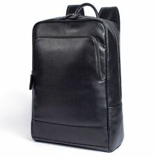 New Genuine Real Cow Leather Backpack Travel Bag Handbag Book Bag Black L