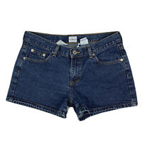 "Calvin Klein Women 9 Mid Rise Dark Rinse Wash 3"" Omega Shorts Jeans Denim Blue"
