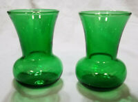 VINTAGE SMALL EMERALD GREEN VASES (SET OF 2)