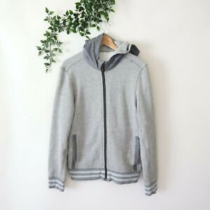 Lululemon Mens Hooded Zip Front Long Sleeve Athletic Sweater Jacket S Small Gray