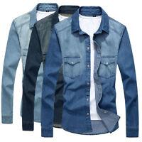 Mens Long Sleeves Double pockets Denim Shirts Stylish Wash Jeans Jackets T6268