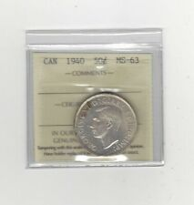 1940  ICCS Graded Canadian Silver 50 Cent, **MS-63**