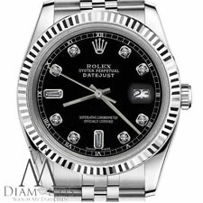 Classic Rolex 31mm Datejust Black Face 6+9 Baguette Cut Diamond 18K & Steel