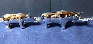 Wall Street Business Investor Gift BULL & BEAR Chrome Plated Brass Figurines