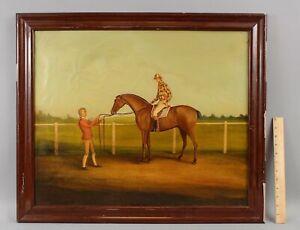 Lg Antique American Folk Art Oil Painting Equestrian Racehorse Horse Race Jockey