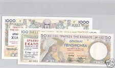 GRECE LOT DE 3 BILLETS 50, 100 ET 1 000 FRACHMES 1935 PICK 104,105 ET 106 !!!!