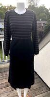 VINTAGE SONIA RYKIEL BLACK COTTON LONG SLEEVE MODEST MIDI STRIPED DRESS M