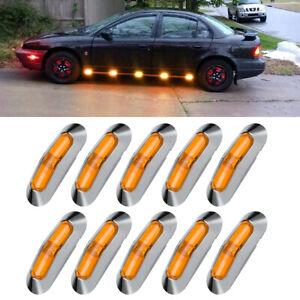 10x Amber 4 LED Clearance Side Marker Lights for Car RV Truck Trailer Pickup 12V