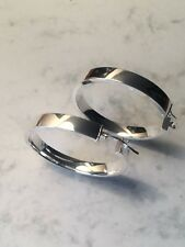 925 Sterling Silver Plain Flat Hoop Creole Sleeper Earrings 30mm G520930