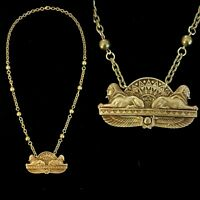 Vintage Egyptian Revival Double Sphinx Serpent Brass Bead Necklace