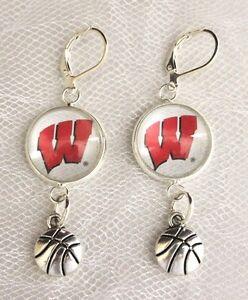 Large Multi NCAA Wisconsin Badgers Tear Drop Earrings