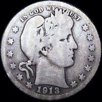 1913-S Barber Quarter Dollar Silver US Coin  ---- Key Date RARE  ---- #D564