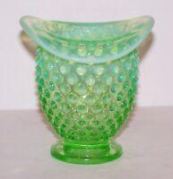 """LOVELY VINTAGE FENTON ART GLASS GREEN OPALESCENT HOBNAIL 3 1/2"""" HAT VASE"""