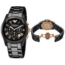 Brand New Emporio Armani AR1410 Men's Rose Gold Black Ceramic Chronograph Watch