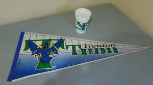 """Large (29"""") Trenton Thunder Pennant (1994, autographed) and 1996 Commemorative C"""
