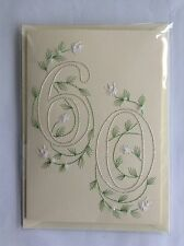 HANDMADE HAND STITCHED  60TH  BIRTHDAY CARD NUMBER  60 WITH WHITE FLOWERS, BEADS