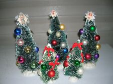 bottle brush trees 3- 9 inch 2- vintage balls 6 inch red ribbon bows