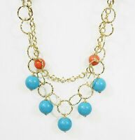 """18K Gold Plated USA Made 24"""" Turquoise Coral Necklace Crystal Beads"""