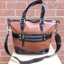 Jaeger Large Brown Black Patent Tote Shopper Shoulder Handbag