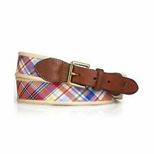 $85 NWT RL RALPH LAUREN Polo Men Orange Madras Plaid Leather Cotton Belt Size 32