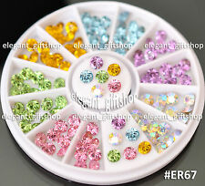 #ER67 Nail Art Tips Decoration 5mm Shiny Color Cone Shape Glitter Rhinestones