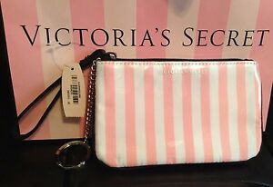 Victoria's Secret Key Pouch Credit Card Coin Wallet in Pink & White Stripe NWT
