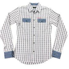 DSQUARED2 Men's L/S Button Work Shirt Blue/Brown Plaid Denim Pocket • Size 48 IT