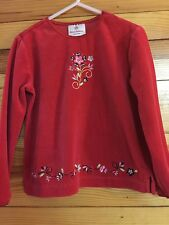 Hanna Andresson Girls Red Floral Velour Top Shirt Size 100 4-4T