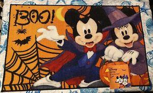 "Disney Halloween Accent Rug Minnie & Mickey 20"" x 32"" Boo! NWT"