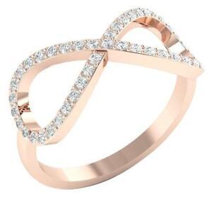 SI1 G 0.52 Ct Round Diamond 14K Rose Gold 8.65MM Engagement Infinity Ring